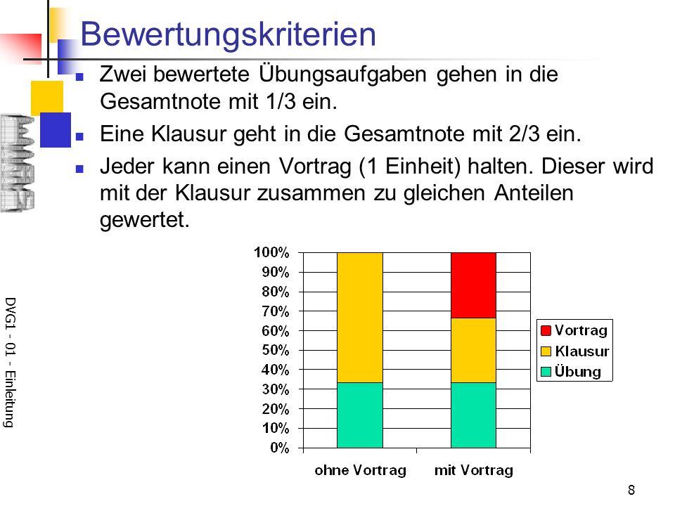 DVG1 - 01 - Einleitung 8 Bewertungskriterien Zwei bewertete Übungsaufgaben gehen in die Gesamtnote mit 1/3 ein. Eine Klausur geht in die Gesamtnote mi