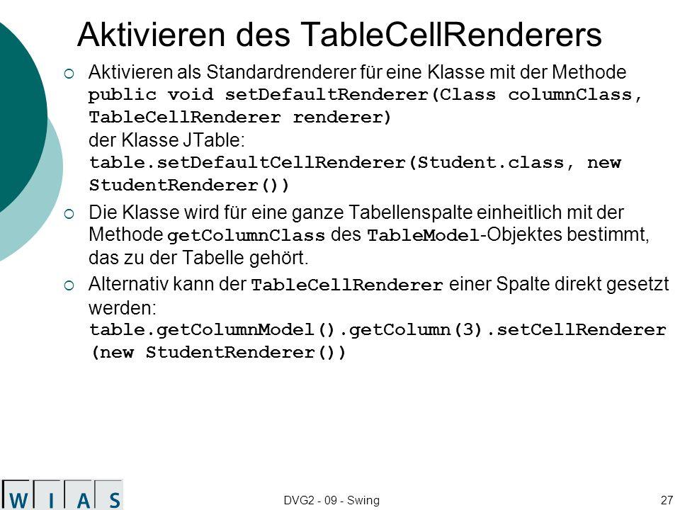 DVG2 - 09 - Swing27 Aktivieren des TableCellRenderers Aktivieren als Standardrenderer für eine Klasse mit der Methode public void setDefaultRenderer(C