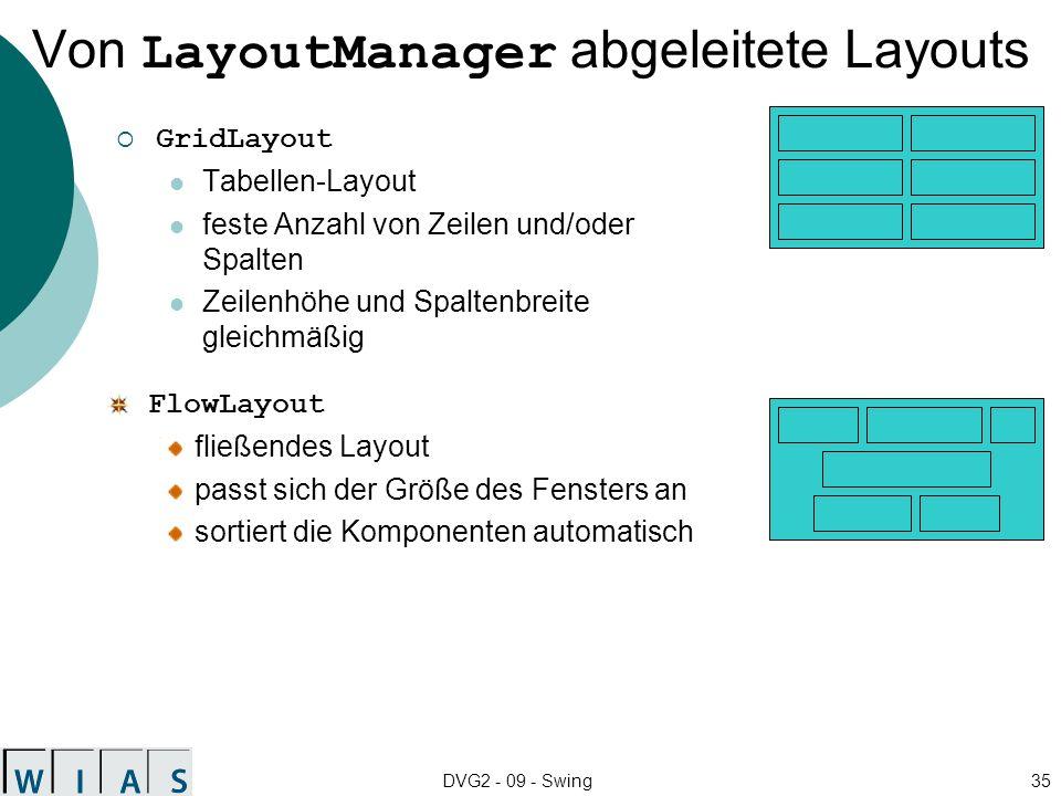 DVG2 - 09 - Swing35 Von LayoutManager abgeleitete Layouts GridLayout Tabellen-Layout feste Anzahl von Zeilen und/oder Spalten Zeilenhöhe und Spaltenbr