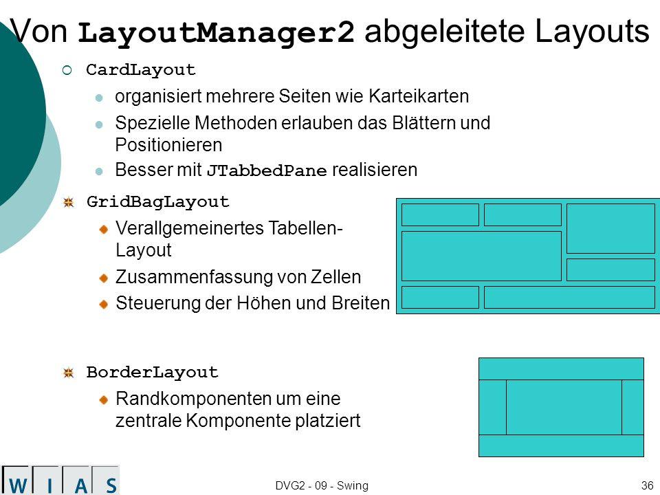 DVG2 - 09 - Swing36 Von LayoutManager2 abgeleitete Layouts CardLayout organisiert mehrere Seiten wie Karteikarten Spezielle Methoden erlauben das Blät