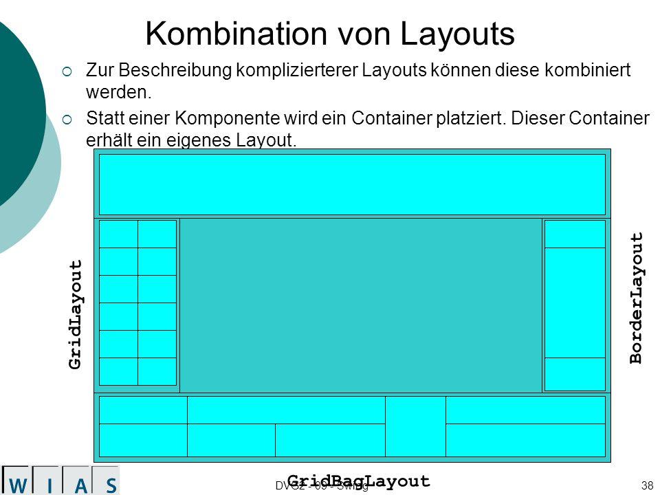DVG2 - 09 - Swing38 Kombination von Layouts Zur Beschreibung komplizierterer Layouts können diese kombiniert werden. Statt einer Komponente wird ein C