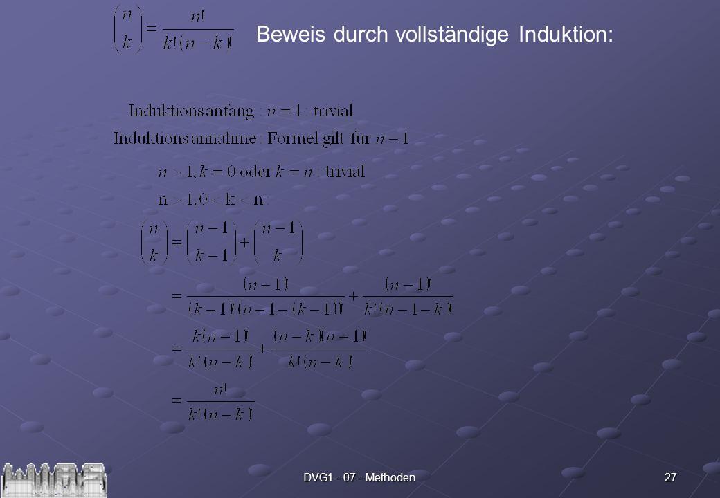 27DVG1 - 07 - Methoden Beweis durch vollständige Induktion: