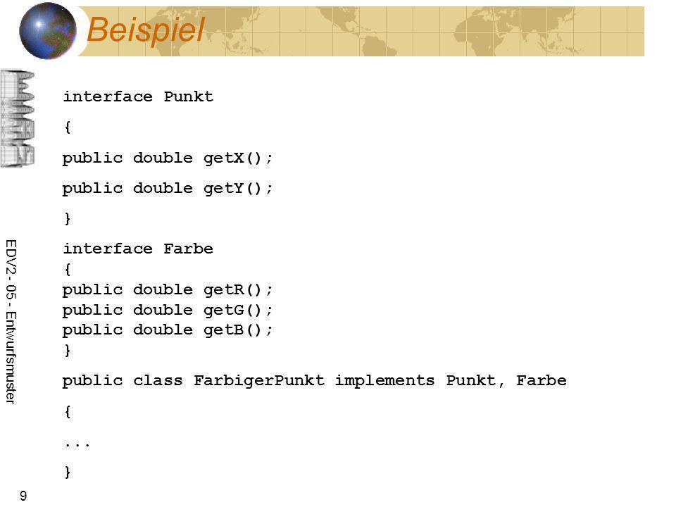 EDV2 - 05 - Entwurfsmuster 9 Beispiel interface Punkt { public double getX(); public double getY(); } interface Farbe { public double getR(); public d