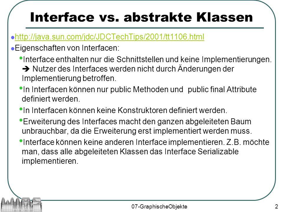 07-GraphischeObjekte3 Eigenschaften abstrakter Klassen: Abstrakte Klassen können Implementierungen enthalten.