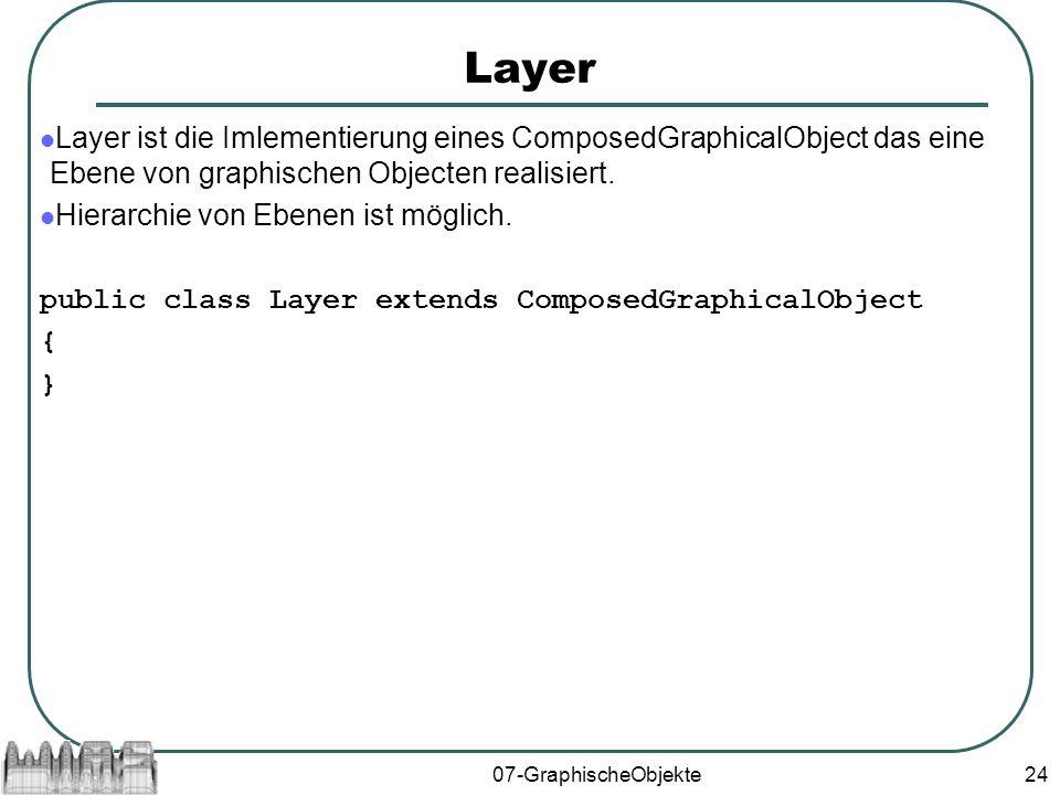 07-GraphischeObjekte24 Layer Layer ist die Imlementierung eines ComposedGraphicalObject das eine Ebene von graphischen Objecten realisiert.