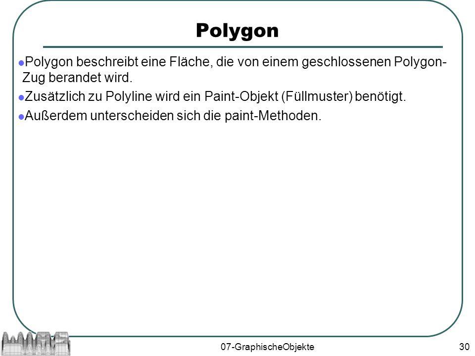 07-GraphischeObjekte30 Polygon Polygon beschreibt eine Fläche, die von einem geschlossenen Polygon- Zug berandet wird.