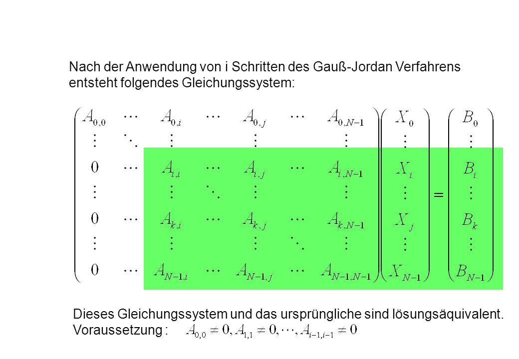 Nach der Anwendung von i Schritten des Gauß-Jordan Verfahrens entsteht folgendes Gleichungssystem: Dieses Gleichungssystem und das ursprüngliche sind