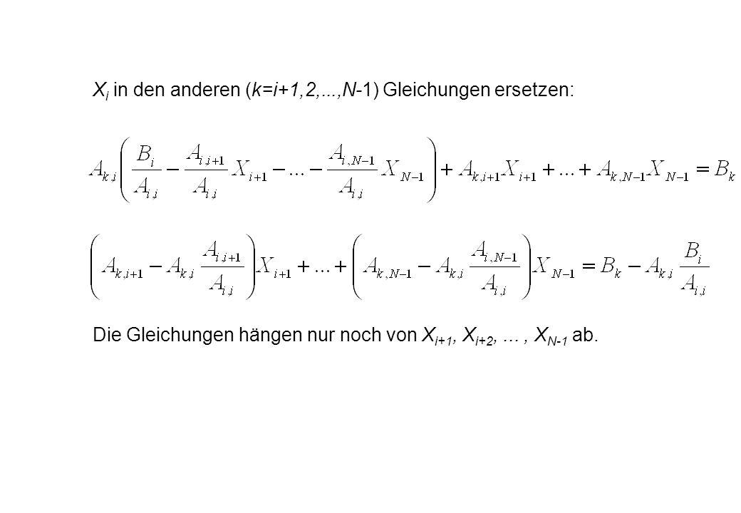 X i in den anderen (k=i+1,2,...,N-1) Gleichungen ersetzen: Die Gleichungen hängen nur noch von X i+1, X i+2,..., X N-1 ab.