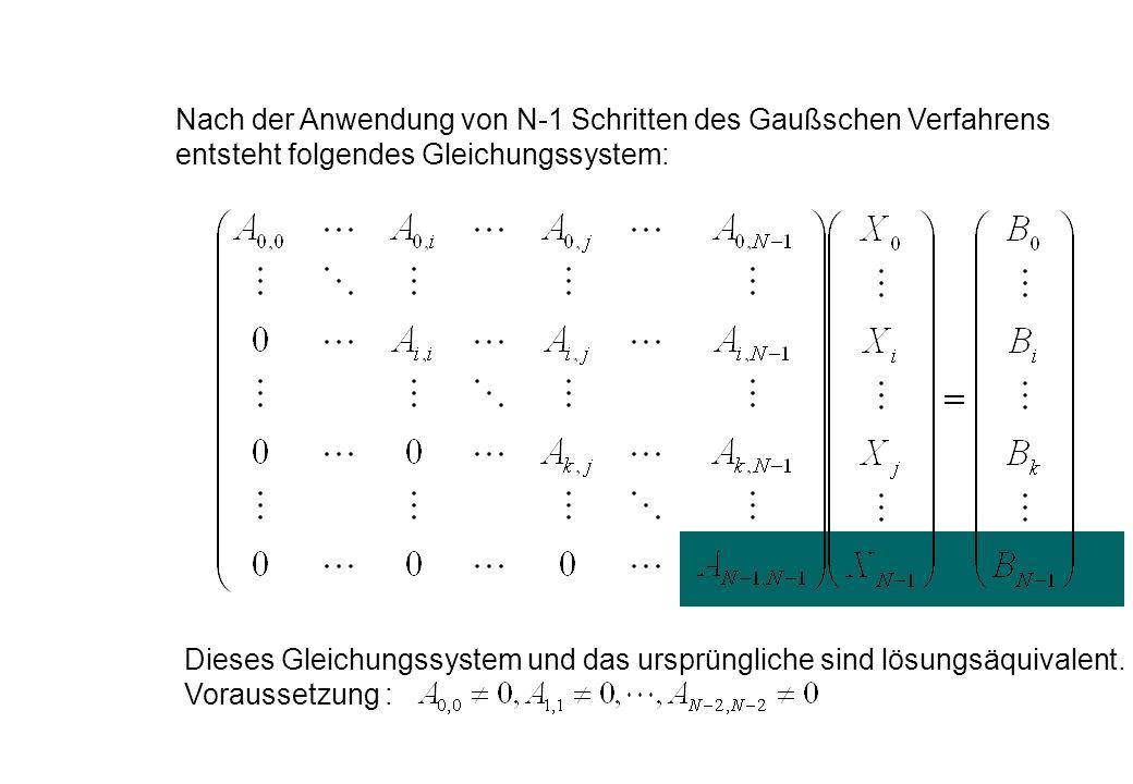 Nach der Anwendung von N-1 Schritten des Gaußschen Verfahrens entsteht folgendes Gleichungssystem: Dieses Gleichungssystem und das ursprüngliche sind