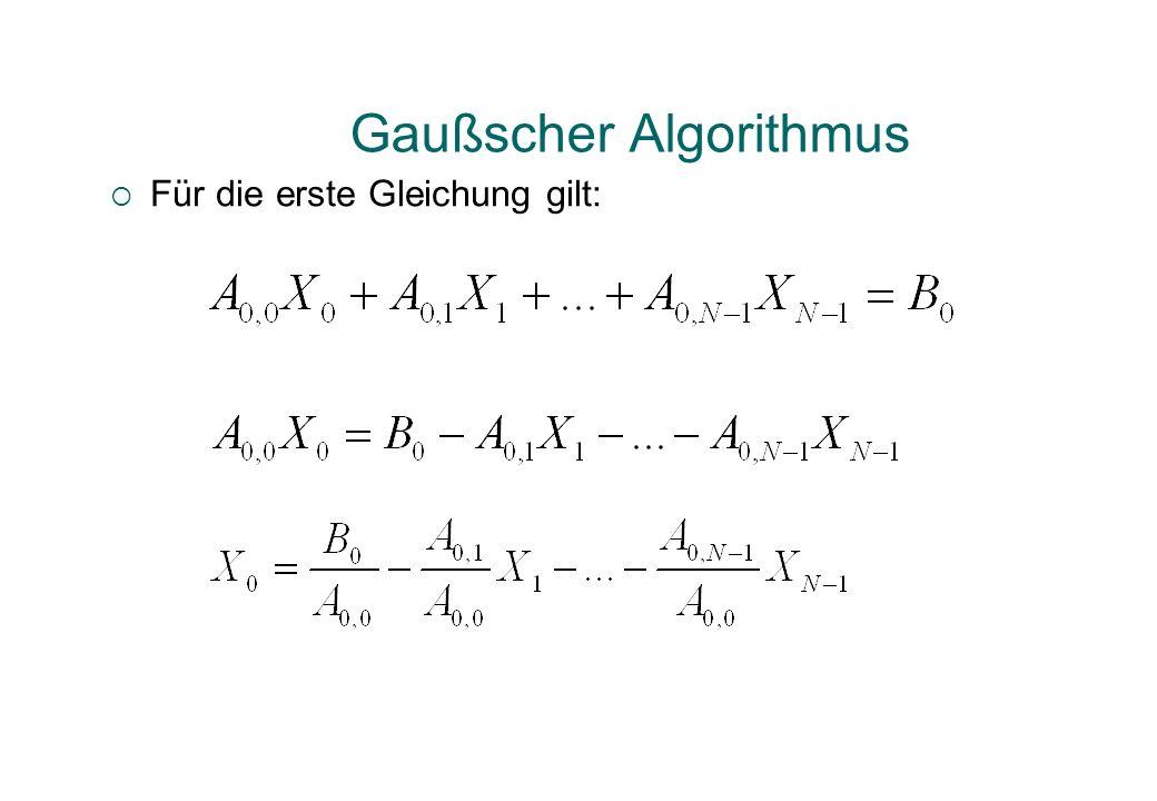 Gaußscher Algorithmus Für die erste Gleichung gilt: