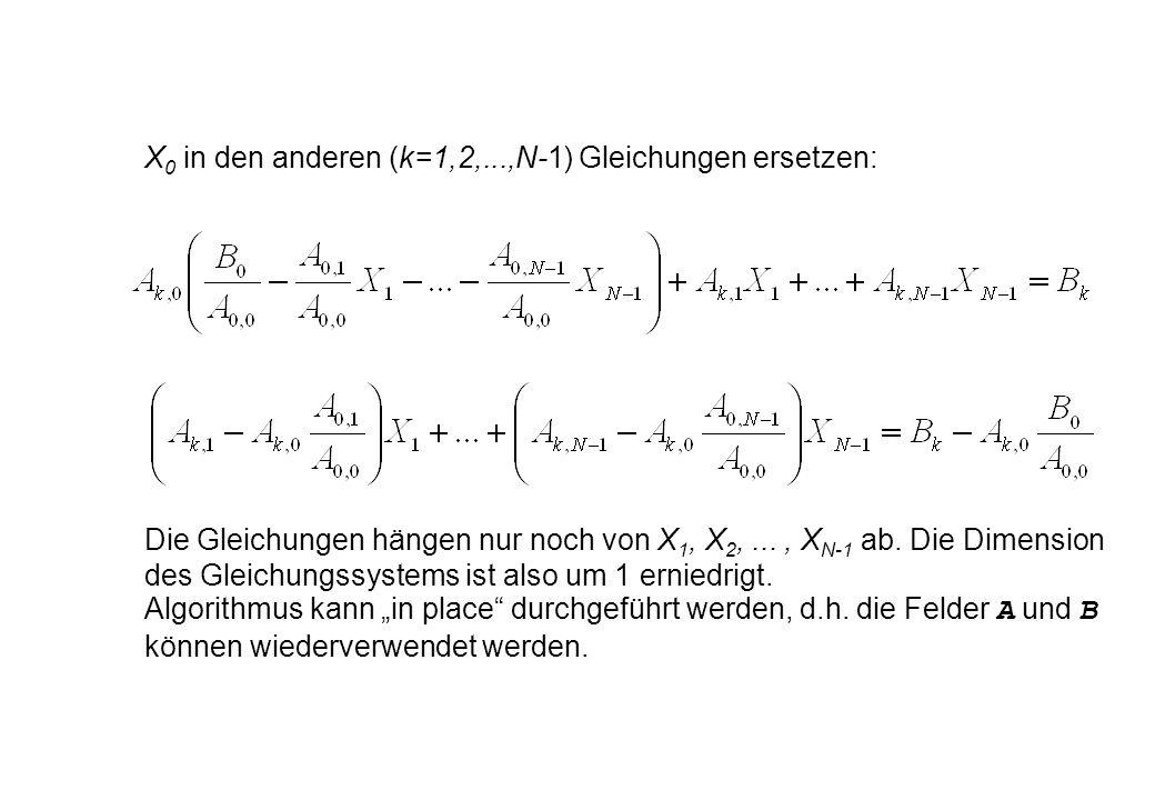 X 0 in den anderen (k=1,2,...,N-1) Gleichungen ersetzen: Die Gleichungen hängen nur noch von X 1, X 2,..., X N-1 ab. Die Dimension des Gleichungssyste