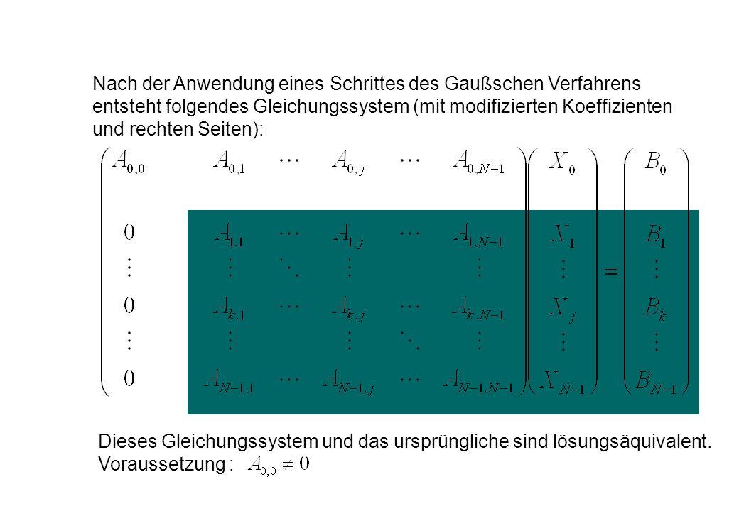 Nach der Anwendung eines Schrittes des Gaußschen Verfahrens entsteht folgendes Gleichungssystem (mit modifizierten Koeffizienten und rechten Seiten):