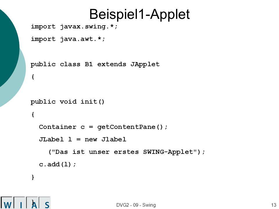 DVG2 - 09 - Swing13 Beispiel1-Applet import javax.swing.*; import java.awt.*; public class B1 extends JApplet { public void init() { Container c = getContentPane(); JLabel l = new Jlabel ( Das ist unser erstes SWING-Applet ); c.add(l); } }