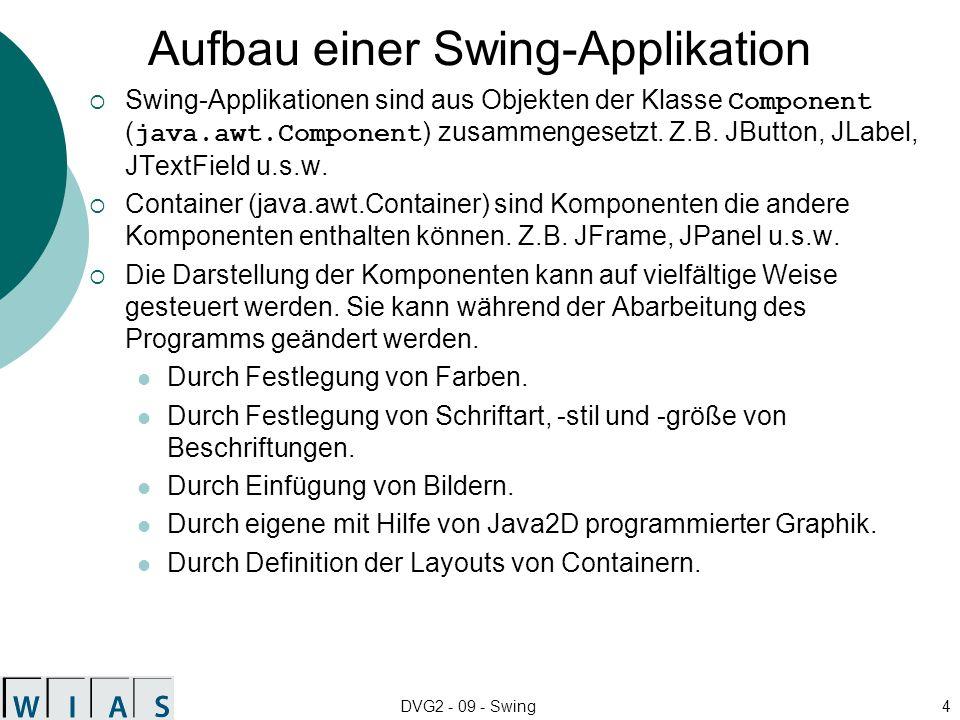 DVG2 - 09 - Swing4 Aufbau einer Swing-Applikation Swing-Applikationen sind aus Objekten der Klasse Component ( java.awt.Component ) zusammengesetzt.