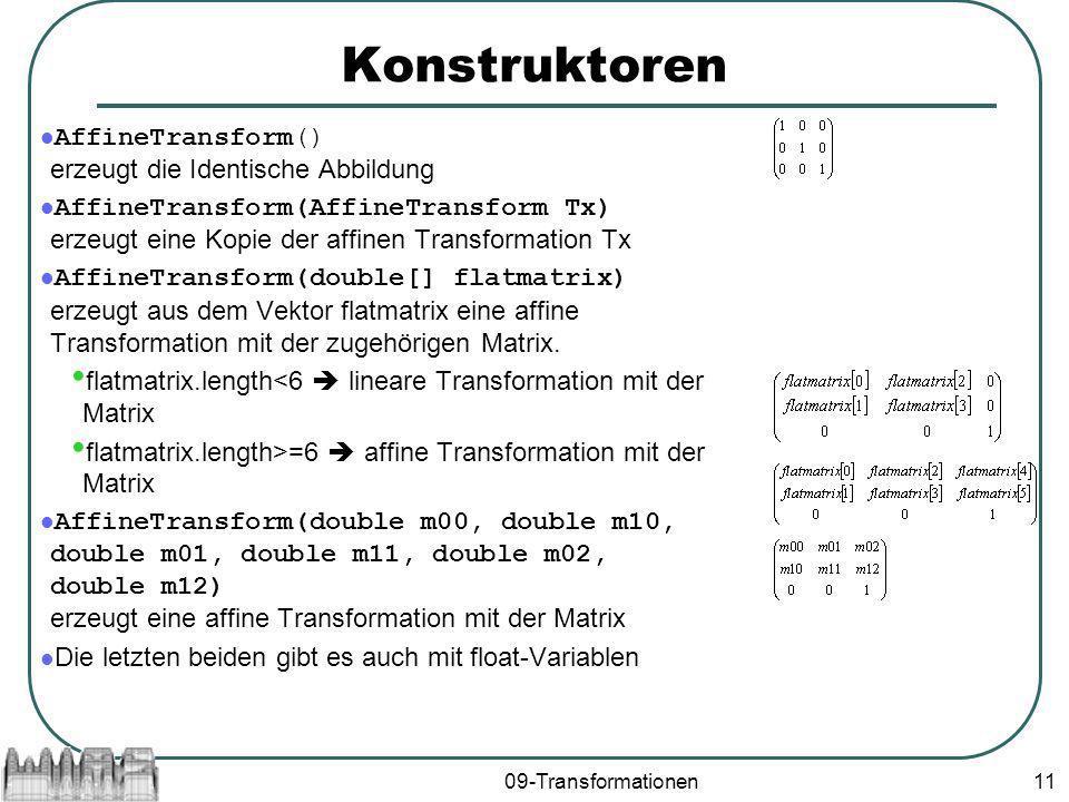 09-Transformationen11 Konstruktoren AffineTransform() erzeugt die Identische Abbildung AffineTransform(AffineTransform Tx) erzeugt eine Kopie der affinen Transformation Tx AffineTransform(double[] flatmatrix) erzeugt aus dem Vektor flatmatrix eine affine Transformation mit der zugehörigen Matrix.