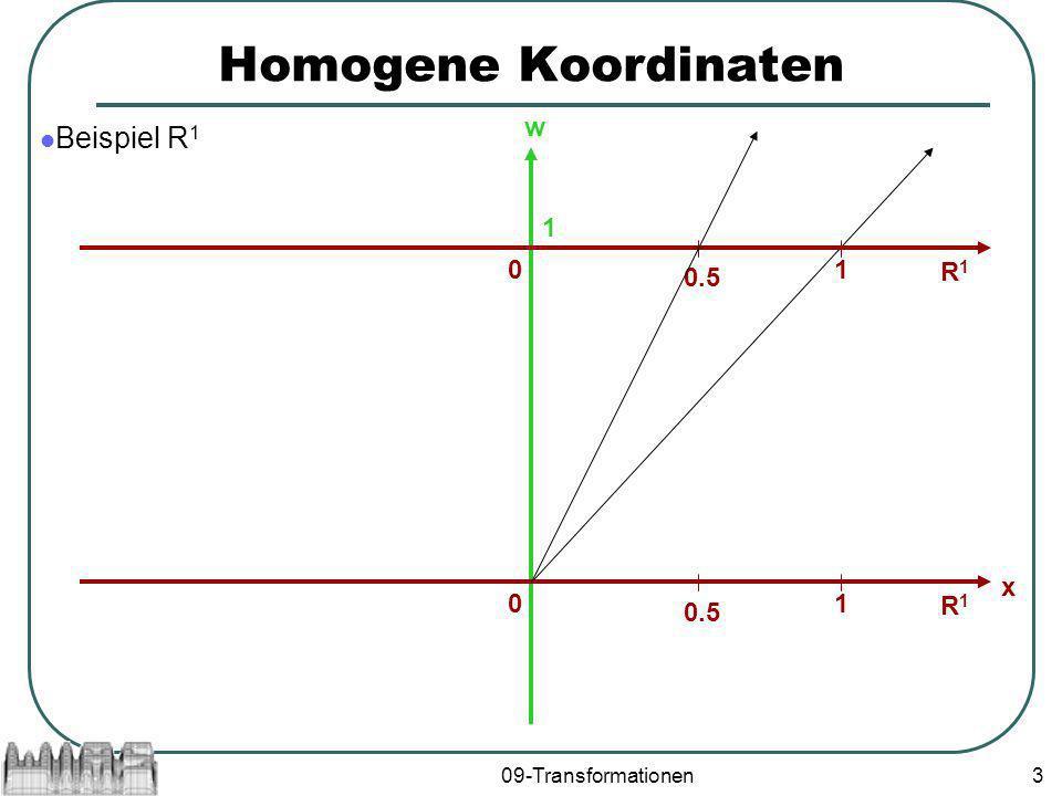 09-Transformationen3 Homogene Koordinaten Beispiel R 1 1 w R1R1 01 x 0.5 R1R1 01