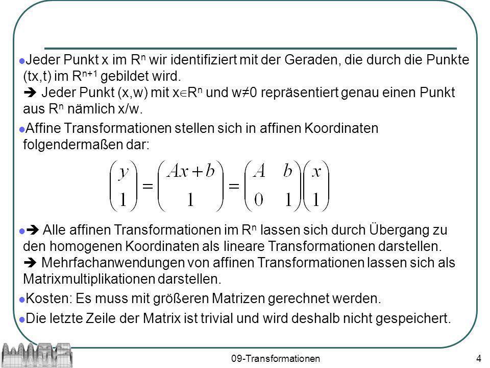 09-Transformationen4 Jeder Punkt x im R n wir identifiziert mit der Geraden, die durch die Punkte (tx,t) im R n+1 gebildet wird. Jeder Punkt (x,w) mit