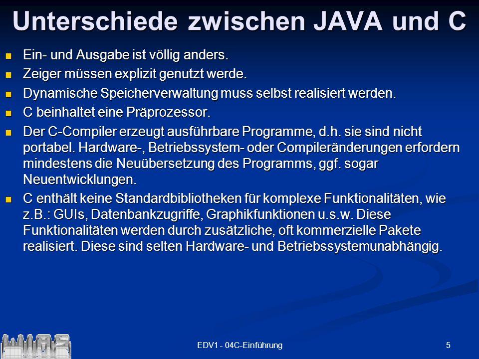 6EDV1 - 04C-Einführung Erstes Beispiel - JAVA public class hello { public static void main (String args []) { System.out.println( Hello, world!\nDas ist + unser erstes JAVA-Programm.\nAnzahl der + Parameter : +args.length); for (int i=0; i<args.length; i++) System.out.println( Parameter[ +i+ ] = +args[i]); } }