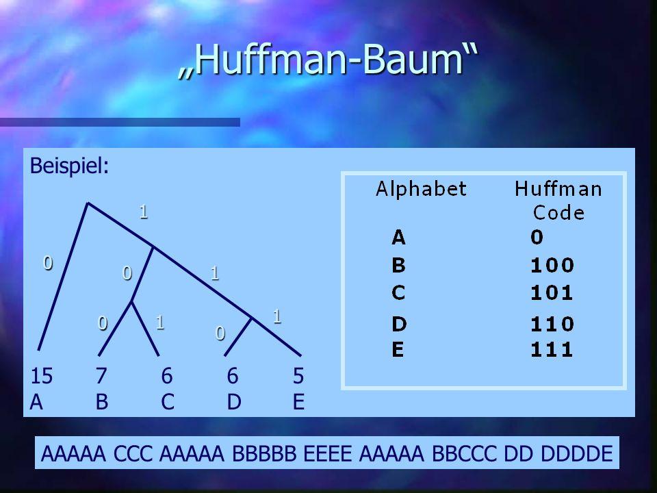 Huffman Encoding n 1952 von Huffman entwickelt n stochastische Auswertung des Codes n Beispiel Beispiel –http://www.cs.sfu.ca/CourseCentral/365/li/squ