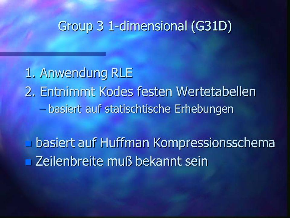 CCITT Encoding n Drei verschiedene Algorithmen Group 3 1-dimensional (G31D) Group 3 2-dimensional (G32D) Group 4 2-dimensional (G42D)