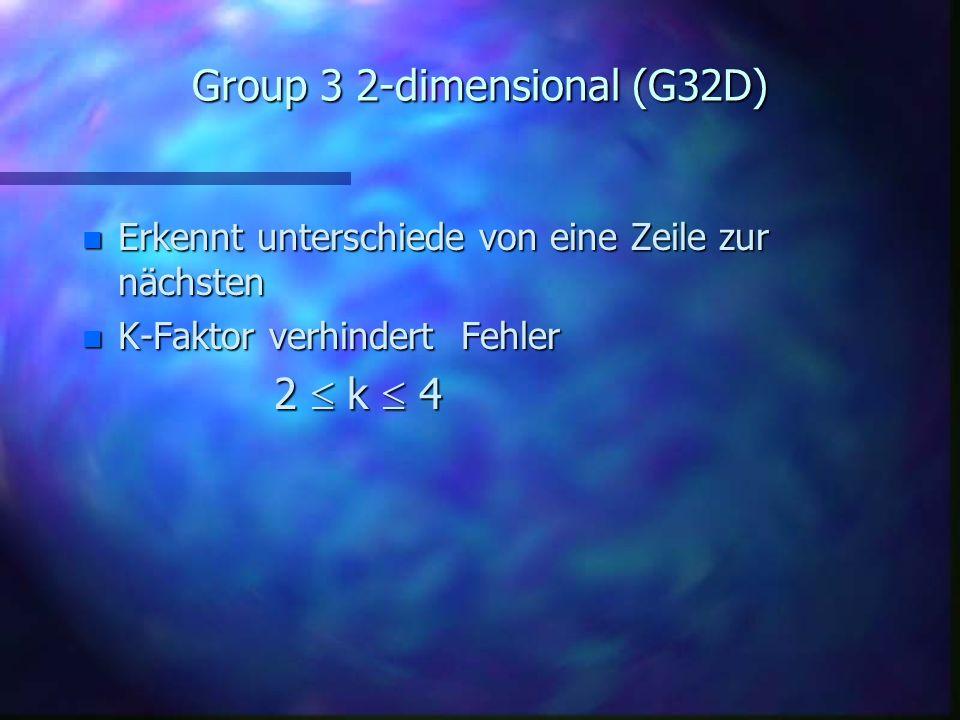 Group 3 1-dimensional (G31D) 1. Anwendung RLE 2. Entnimmt Kodes festen Wertetabellen –basiert auf statischtische Erhebungen n basiert auf Huffman Komp