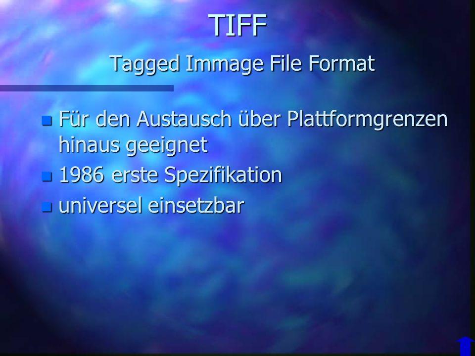 TIFF Tagged Immage File Format n Hersteller: n Adobe System Inc. n Entwickelt in Absprache mit: n Microsoft n ver. Scanner und Druckerhersteller