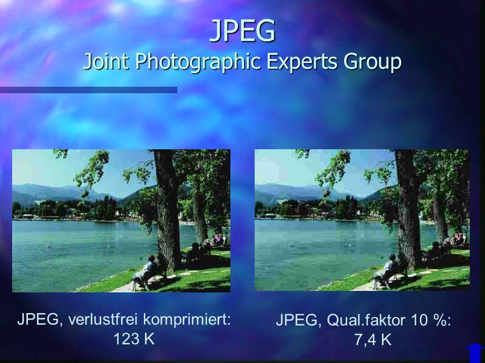 JPEG Joint Photographic Experts Group n hohe kompressionsraten –Bildverluste n bis 1:4 keine n ab 1:10 wahrnehmbar n 1:25viele Artefakte n nicht geeig