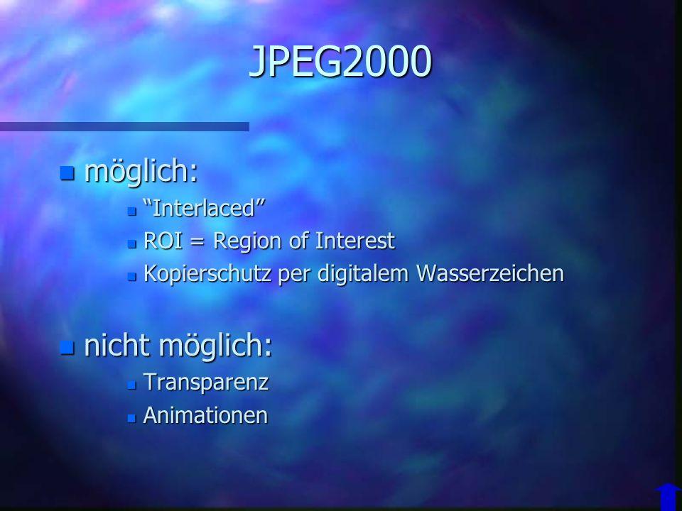 JPEG2000 n 1997 erste Entwürfe n 2000 Spezifikation an ISO übergeben n Ziele –höhere Kompressionraten als JPEG –auch verlustfreie Methode möglich –S/W