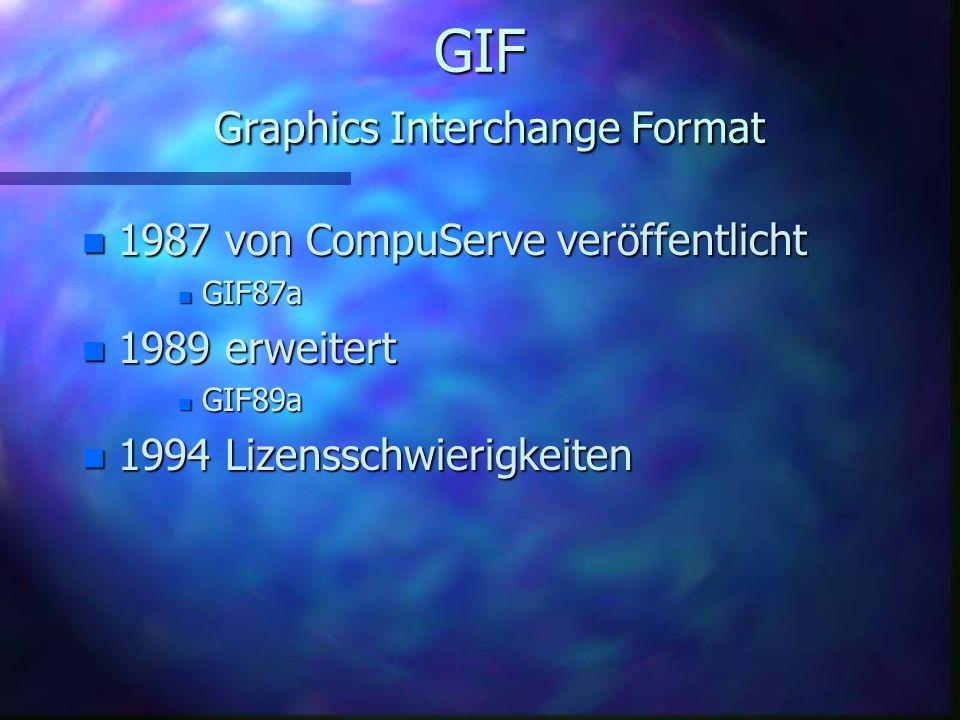GIF Graphics Interchange Format n Windows: n.gif n Hersteller: n Compuserve n Kompression: n LZW