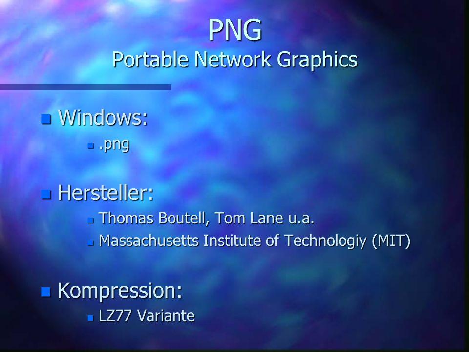GIF Graphics Interchange Format n Farbpalette bis 8 Bit n unterstützt websichere Farben n Dithering n Mischung mehrere Punkte zu anderen Farben n Tran