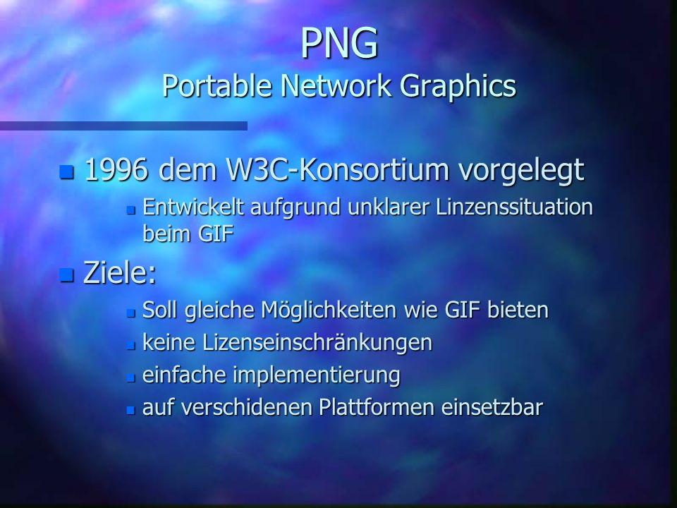 PNG Portable Network Graphics n Windows: n.png n Hersteller: n Thomas Boutell, Tom Lane u.a. n Massachusetts Institute of Technologiy (MIT) n Kompress