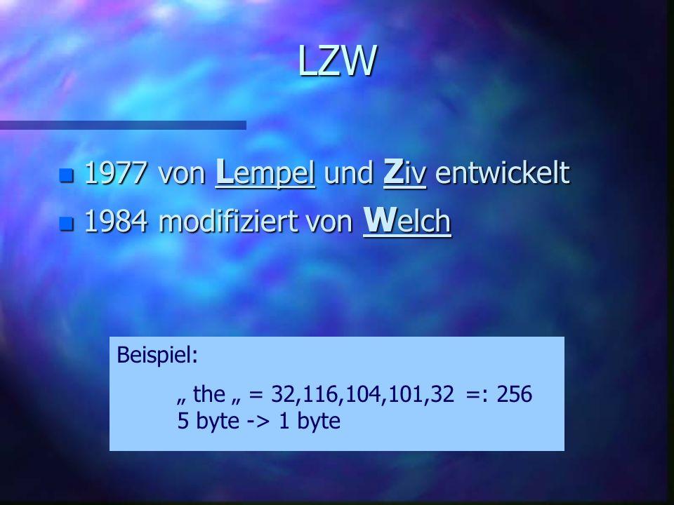 RLE Run Length Encoding Beispiel: 12 KB 2 KB