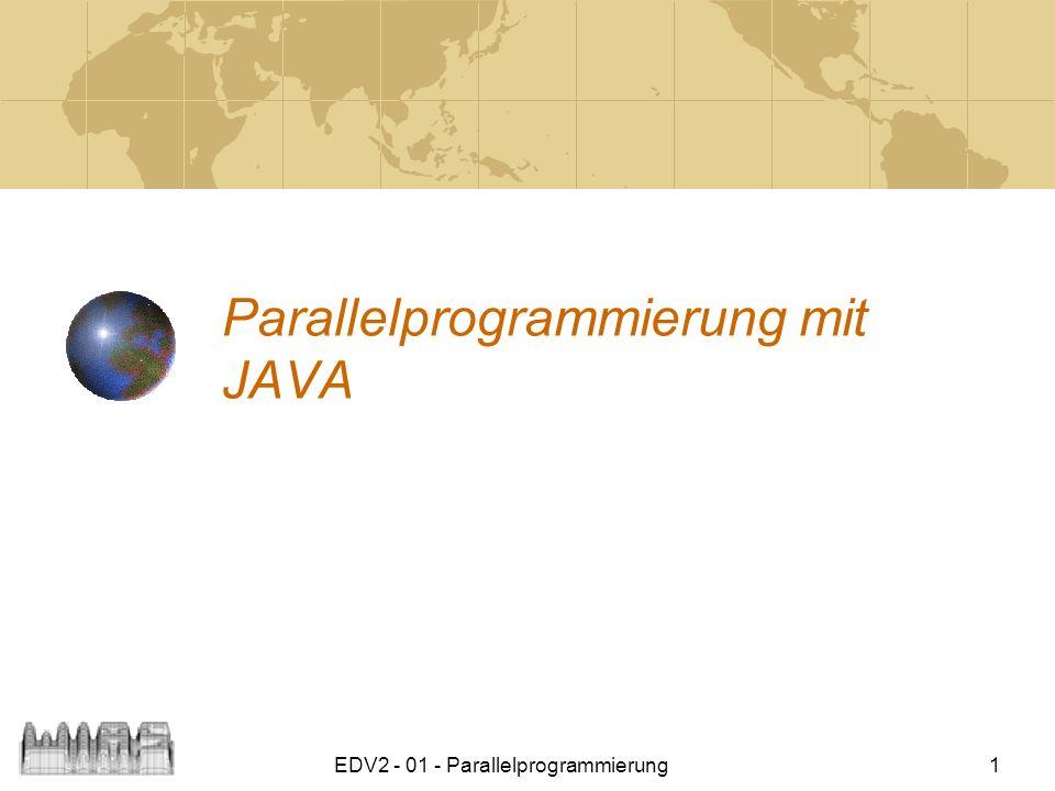 EDV2 - 01 - Parallelprogrammierung 12 Daemon-Threads Daemon-Threads werden bei der Beendigung des Gesamtprogramms nicht berücksichtigt.