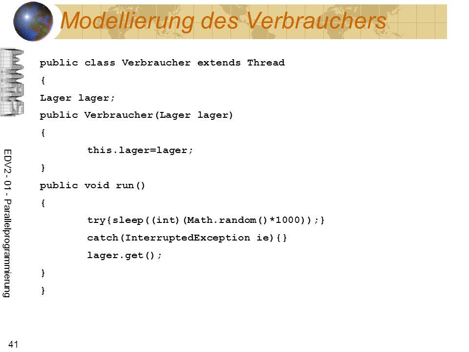 EDV2 - 01 - Parallelprogrammierung 41 Modellierung des Verbrauchers public class Verbraucher extends Thread { Lager lager; public Verbraucher(Lager lager) { this.lager=lager; } public void run() { try{sleep((int)(Math.random()*1000));} catch(InterruptedException ie){} lager.get(); } }