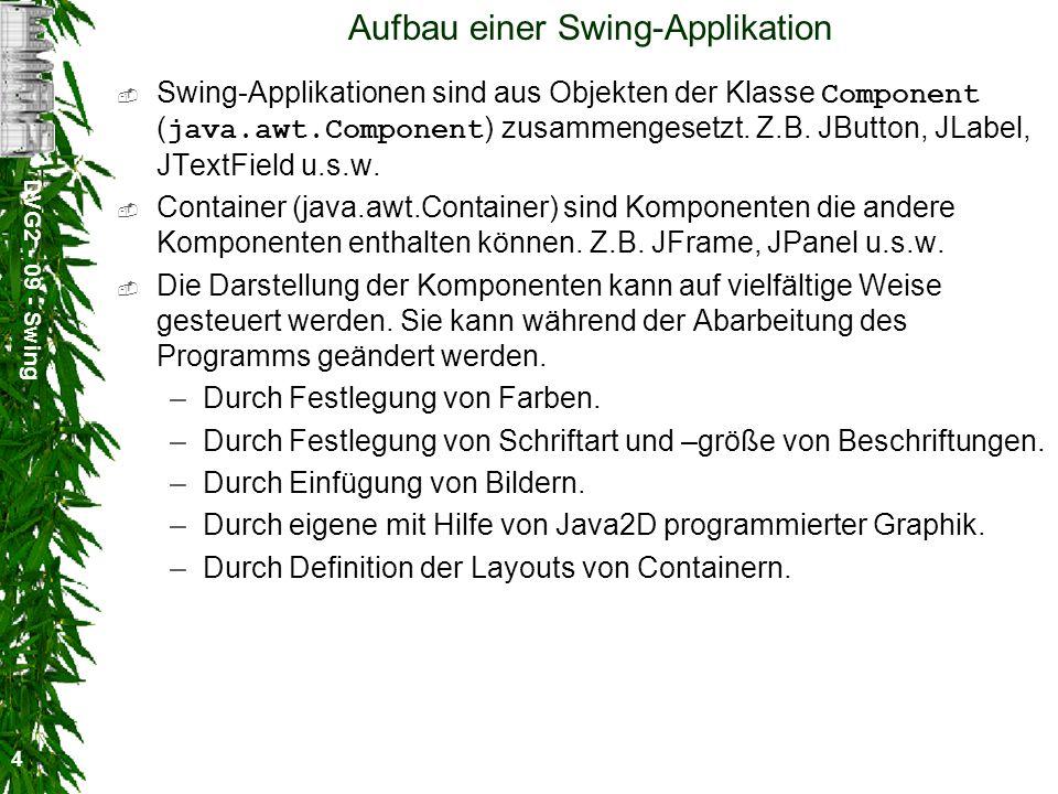 DVG2 - 09 - Swing 4 Aufbau einer Swing-Applikation Swing-Applikationen sind aus Objekten der Klasse Component ( java.awt.Component ) zusammengesetzt.
