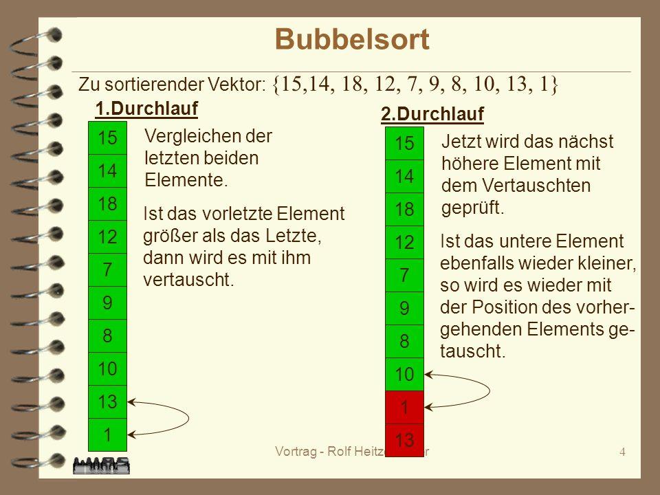 Vortrag - Rolf Heitzenröder4 Bubbelsort 15 14 1 18 12 7 9 8 10 13 Zu sortierender Vektor: {15,14, 18, 12, 7, 9, 8, 10, 13, 1} 1.Durchlauf 15 14 1 18 12 7 9 8 10 13 Vergleichen der letzten beiden Elemente.
