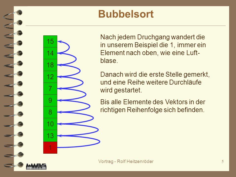 Vortrag - Rolf Heitzenröder5 Bubbelsort 15 14 1 18 12 7 9 8 10 13 Nach jedem Druchgang wandert die in unserem Beispiel die 1, immer ein Element nach oben, wie eine Luft- blase.