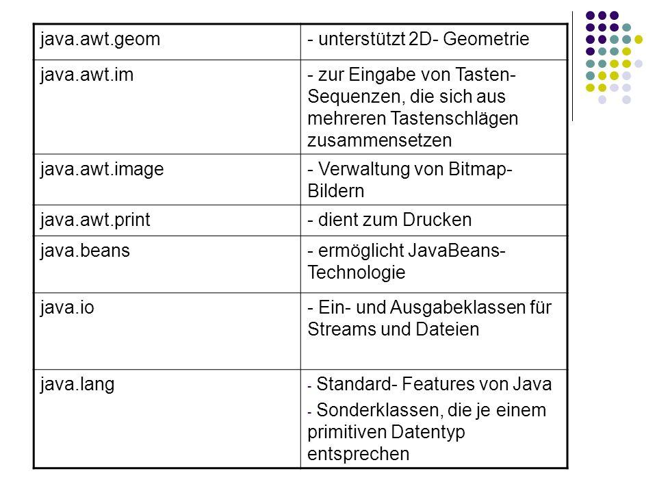 java.awt.geom- unterstützt 2D- Geometrie java.awt.im- zur Eingabe von Tasten- Sequenzen, die sich aus mehreren Tastenschlägen zusammensetzen java.awt.image- Verwaltung von Bitmap- Bildern java.awt.print- dient zum Drucken java.beans- ermöglicht JavaBeans- Technologie java.io- Ein- und Ausgabeklassen für Streams und Dateien java.lang - Standard- Features von Java - Sonderklassen, die je einem primitiven Datentyp entsprechen