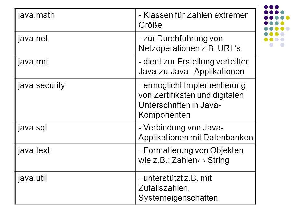 java.math- Klassen für Zahlen extremer Größe java.net- zur Durchführung von Netzoperationen z.B. URLs java.rmi- dient zur Erstellung verteilter Java-z