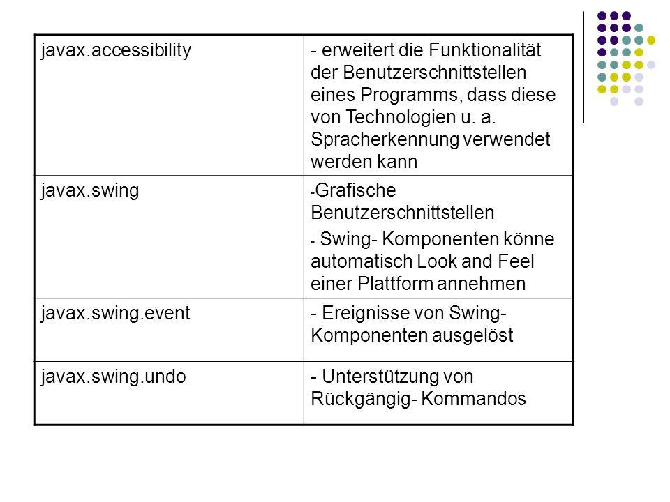 javax.accessibility- erweitert die Funktionalität der Benutzerschnittstellen eines Programms, dass diese von Technologien u. a. Spracherkennung verwen