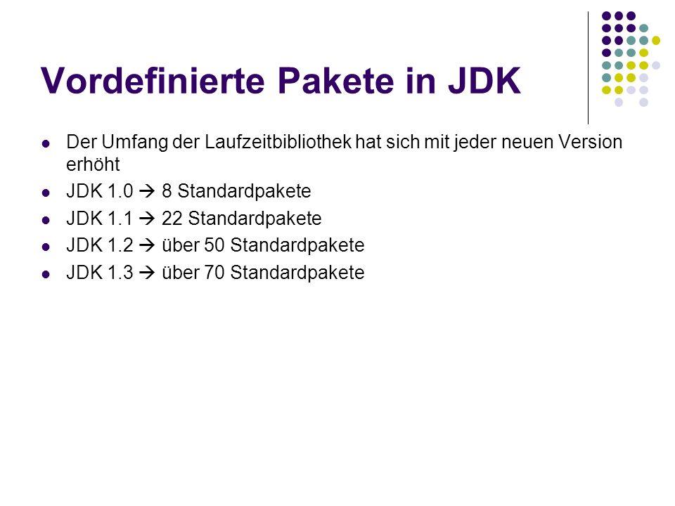Vordefinierte Pakete in JDK Der Umfang der Laufzeitbibliothek hat sich mit jeder neuen Version erhöht JDK 1.0 8 Standardpakete JDK 1.1 22 Standardpakete JDK 1.2 über 50 Standardpakete JDK 1.3 über 70 Standardpakete