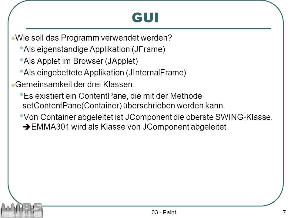 03 - Paint8 import javax.swing.*; Import java.awt.*; public class EMMA301 extends JComponent { public EMMA301() { setBackground(Color.green); } }