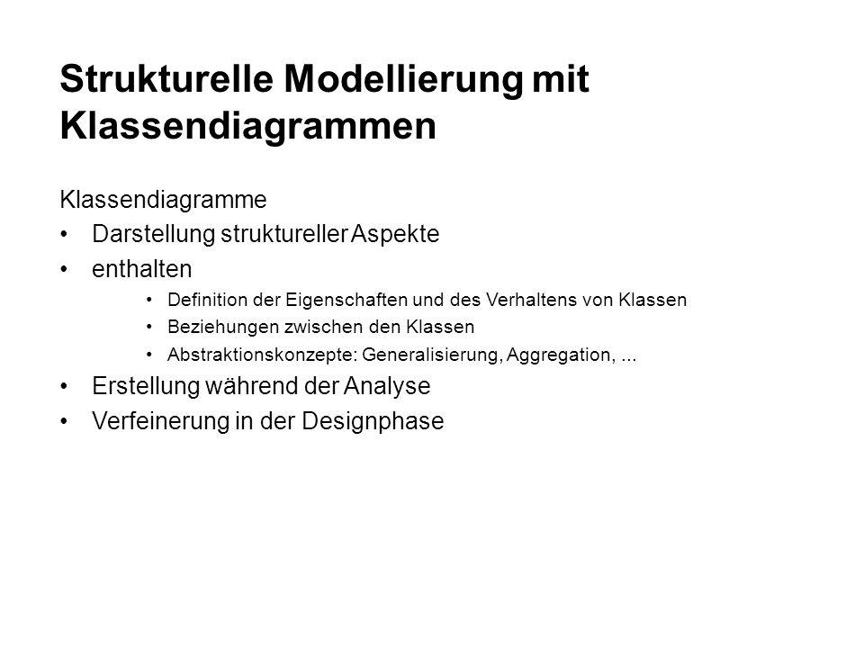 Strukturelle Modellierung mit Klassendiagrammen Klassendiagramme Darstellung struktureller Aspekte enthalten Definition der Eigenschaften und des Verhaltens von Klassen Beziehungen zwischen den Klassen Abstraktionskonzepte: Generalisierung, Aggregation,...