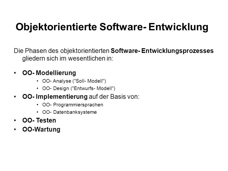 Objektorientierte Software- Entwicklung Die Phasen des objektorientierten Software- Entwicklungsprozesses gliedern sich im wesentlichen in: OO- Modellierung OO- Analyse ( Soll- Modell ) OO- Design ( Entwurfs- Modell ) OO- Implementierung auf der Basis von: OO- Programmiersprachen OO- Datenbanksysteme OO- Testen OO-Wartung