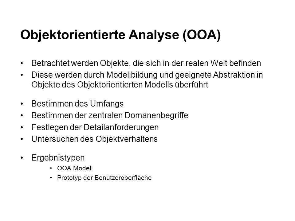 Objektorientierte Analyse (OOA) Betrachtet werden Objekte, die sich in der realen Welt befinden Diese werden durch Modellbildung und geeignete Abstraktion in Objekte des Objektorientierten Modells überführt Bestimmen des Umfangs Bestimmen der zentralen Domänenbegriffe Festlegen der Detailanforderungen Untersuchen des Objektverhaltens Ergebnistypen OOA Modell Prototyp der Benutzeroberfläche
