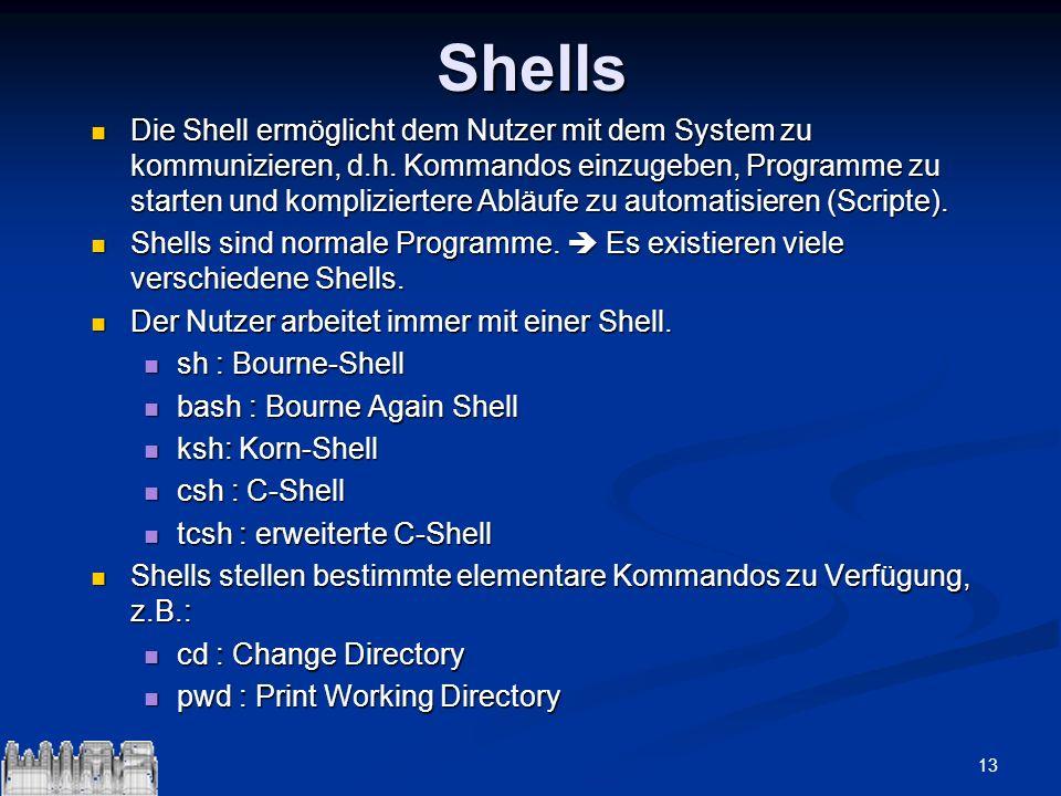 13Shells Die Shell ermöglicht dem Nutzer mit dem System zu kommunizieren, d.h. Kommandos einzugeben, Programme zu starten und kompliziertere Abläufe z