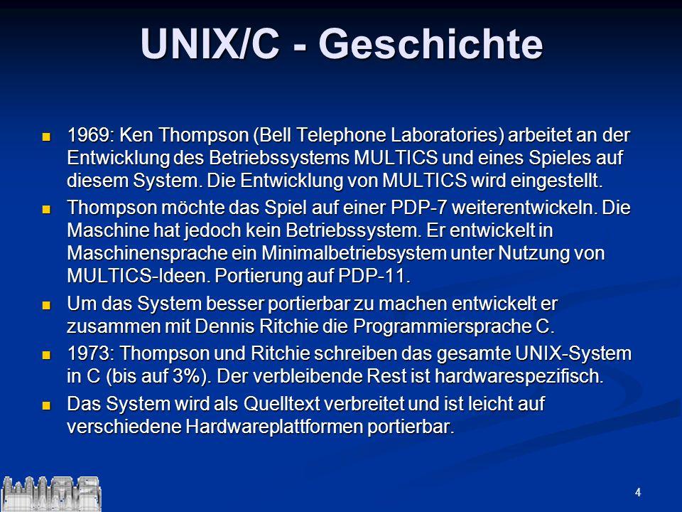 4 UNIX/C - Geschichte 1969: Ken Thompson (Bell Telephone Laboratories) arbeitet an der Entwicklung des Betriebssystems MULTICS und eines Spieles auf d