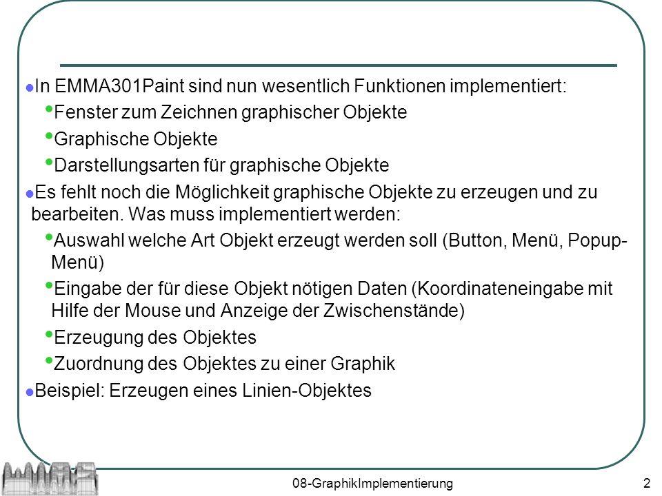 08-GraphikImplementierung2 In EMMA301Paint sind nun wesentlich Funktionen implementiert: Fenster zum Zeichnen graphischer Objekte Graphische Objekte Darstellungsarten für graphische Objekte Es fehlt noch die Möglichkeit graphische Objekte zu erzeugen und zu bearbeiten.