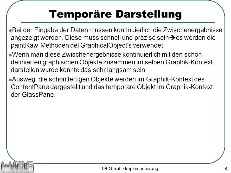 08-GraphikImplementierung8 Temporäre Darstellung Bei der Eingabe der Daten müssen kontinuierlich die Zwischenergebnisse angezeigt werden.