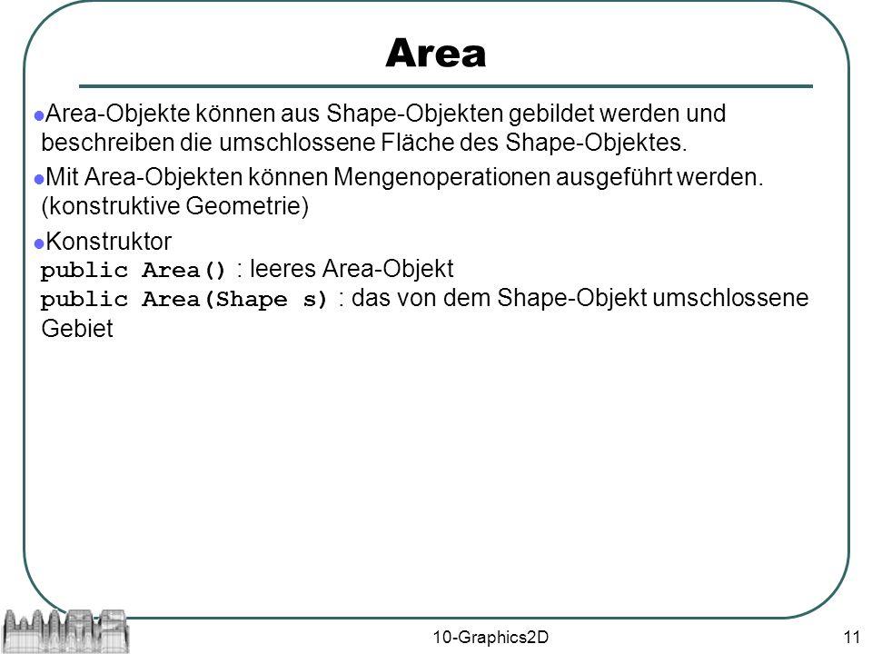 10-Graphics2D11 Area Area-Objekte können aus Shape-Objekten gebildet werden und beschreiben die umschlossene Fläche des Shape-Objektes.